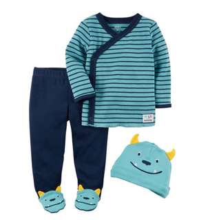 *3M* Brand New Carter's 3-Piece Footed Pant Set For Baby Boy