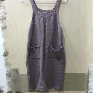 粉紫針織吊帶裙
