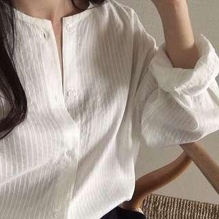 🚚 韓國 圓領紋理襯衫/2色