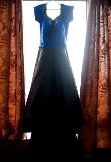 Royal blue/black gown