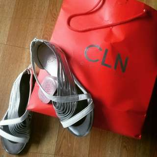 Authentic CLN Silver Sandals