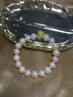 天然淡水珍珠.巴洛克珍珠手串.配飾3D999銀.9~10mm.