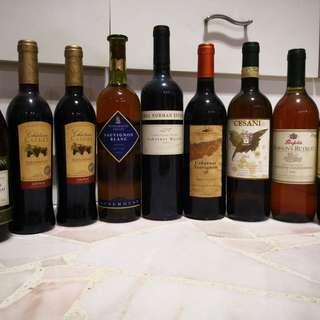 Wines. Reds & Whites. 9 bottles