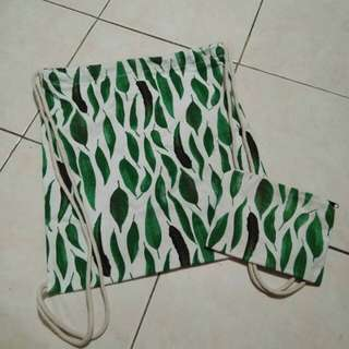 drawstring bag + canvass wallet