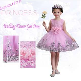 Princess Wedding Girls Pink Flower Girl Dress 👗