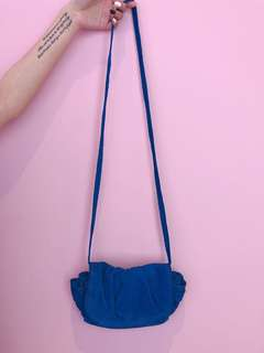 Zara 藍色猄皮手袋