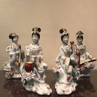 Chinese Instrument Porcelain Figurines Set