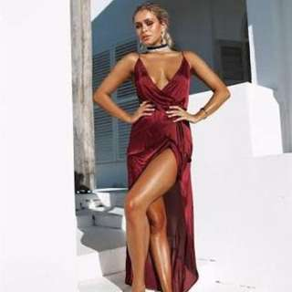 Silky satin formal Dress XS Red Bahia Wrap