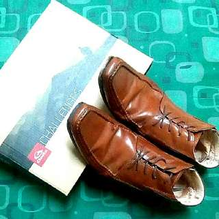 Authentic High cut Leather brown Shoes with box