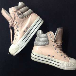 PUZZLE WEDGE SNEAKERS IN BABY PINK $90USD
