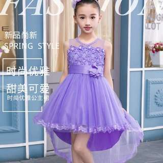 Purple Dress Wedding Fishtail Butterfly Bow Girls Dress