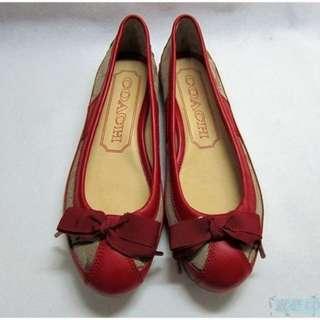 {就是愛二手} 美國精品 COACH 女 全新 紅色皮革+LOGO 品牌經典設計 美國限定款 百搭 平底鞋 便鞋 娃娃鞋