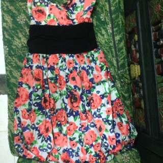 Dress kemben bunga orange