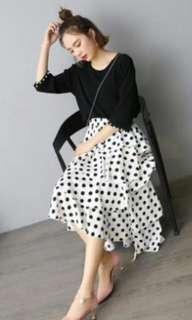 Boho Polka Dot Tiered Maxi Skirt