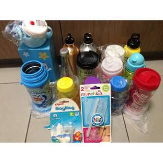 New Doraemon Stainless Steel Water Bottle with strap $10. $0.80 for 1 water bottle. $0.50each  if buy 10. + FREE 2 new bottles n Pigeon Maag & Munchkin straws 😊