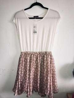 🚚 Pazzo 雪紡裙擺拼接短袖洋裝