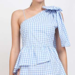 Toga Peplum Top in Light Blue Gingham