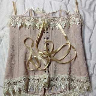 US BOUGHT OLD ROSE LACE VINTAGE INSPIRED CORSET $150USD