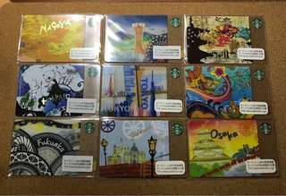 Japan Starbucks City Cards Set (9 cards)