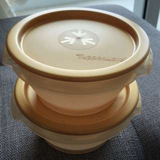💯 [Tupperware] 2 pcs of One-Touch Round Container (400ml)