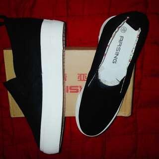 korean shoes, slip-on wedge