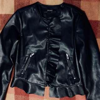 Zara Black Biker Leather Jacket