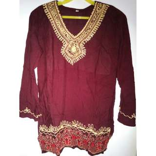 Brand New Maroon top with stylish embroidery/embellishment on neckline & bottom
