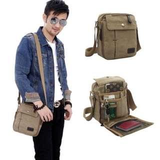 tas selempang kanvas pria import / sling bag