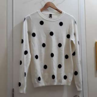 BNY White Polka Dotted Sweater