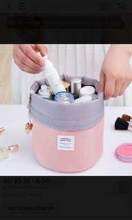 Water resistant barrel make up bag / cosmetics case