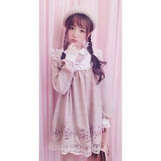🚚 🎀日本Bobon21代購 絕版款 音符 樂譜 粉紅 洋裝