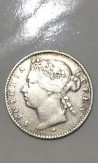 Straits settlements 1876H. 10 cents