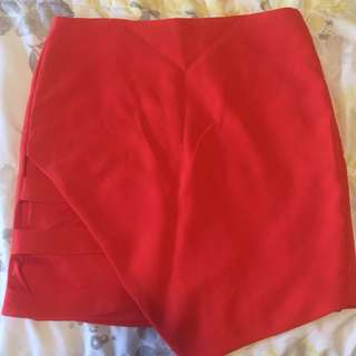 Bright Red/Orange Mini-skirt with cute slits