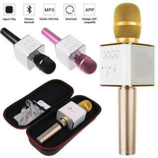 Free Pouch Q9 Mic Wireless Bluetooth Karaoke Player Microphone