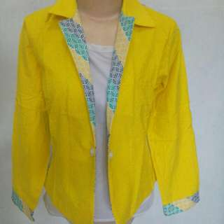 New Yellow Mix Batik Blazer