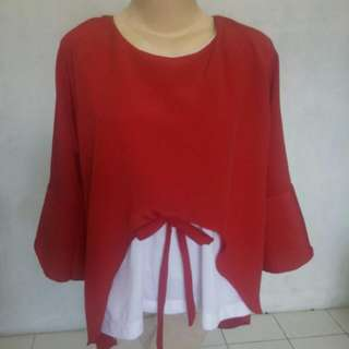 New Red And White Blouse