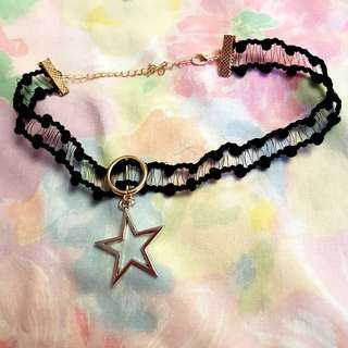 Golden Star Black Pom-Pom Choker
