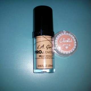Foundation la girl pro coverage shade nude beige + blush on emina shade sugarcane ( dua duanya isi 97%)