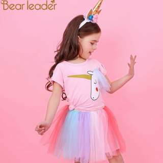 Bear Leader Girl Dress New Summer Casual Style Cartoon Unicorn T-Shirts+Colorful Veil Dress for Girls Clothes 2-6Years