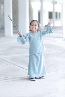 Baju Kurung Kids Raya ROSSA (Tiffany Turquoise)