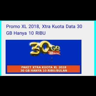Paket PROMO Internet XL XTRA KUOTA 30Gb (untuk 30 hari)