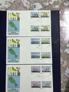 3 pieces of ST KITTS FDC as in Pictures