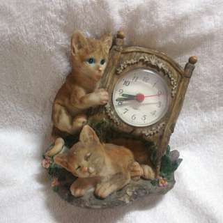 Vintage Stone Ware Clock with Cats Figurines