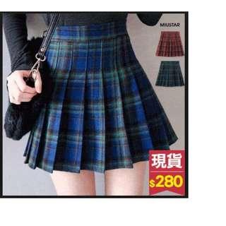 【全新,比五折還便宜!$280→$120】MIUSTAR 蘇格蘭格紋毛料拉鍊百褶褲裙-藍 S