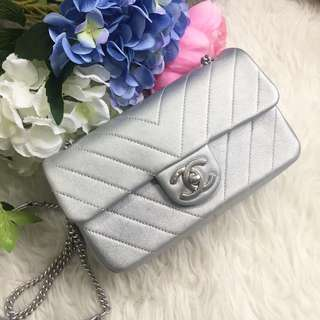✨Superb Deal For Mini Flap!✨Full Set Local Receipt. Silver leather SHW.