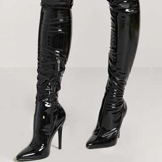 Forever 21 Faux Patent Leather Thigh-High Boots