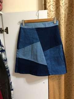 🚚 日牌 Heather 高腰丹寧色拼接短裙