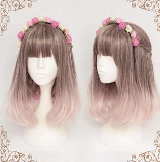 Preorder Chocolate Light Pink Gradient Lolita Straight Hair Wig