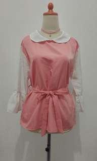 Blouse Pink Collar White