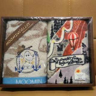 日本姆明 盒裝毛巾 共兩條